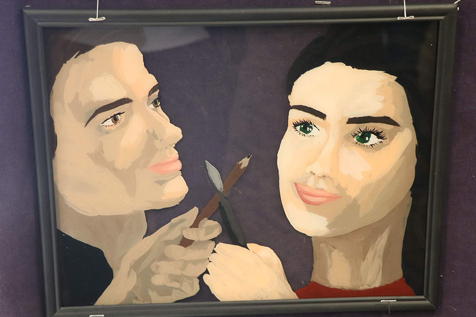 Acrylic on glass two artists gaze at each other