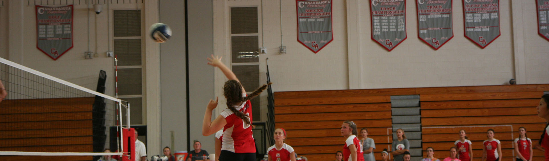 girl spiking the ball during a game