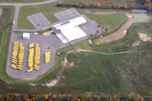Arial view of the operations center building and bus parking lot