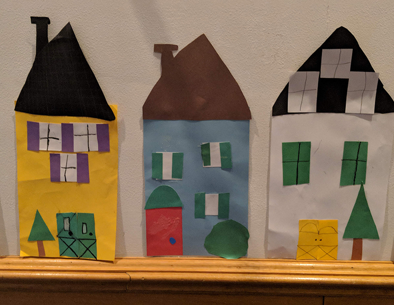Paper houses to represent suburban